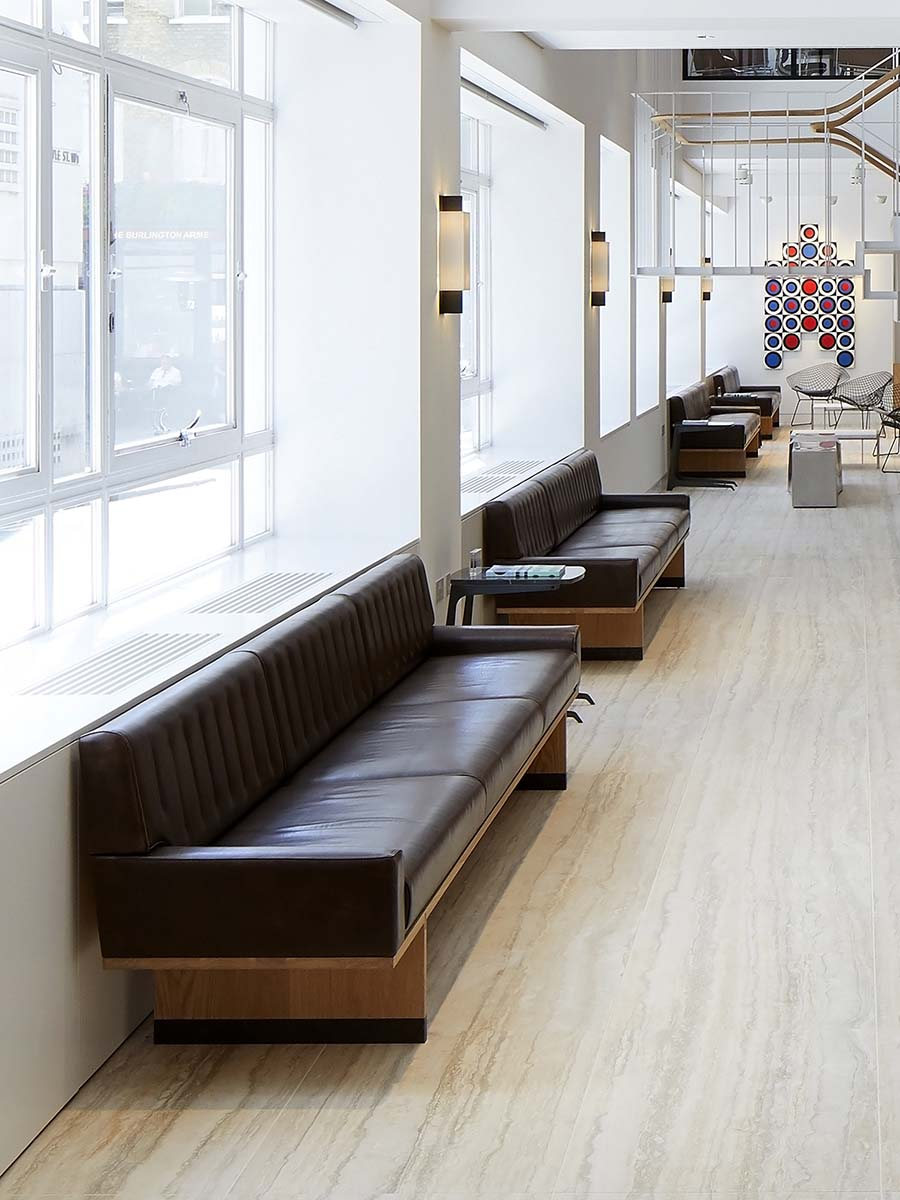 bespoke leather recpetion seating