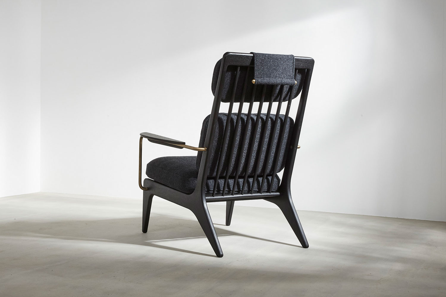 Contemporary spindled backed armchair