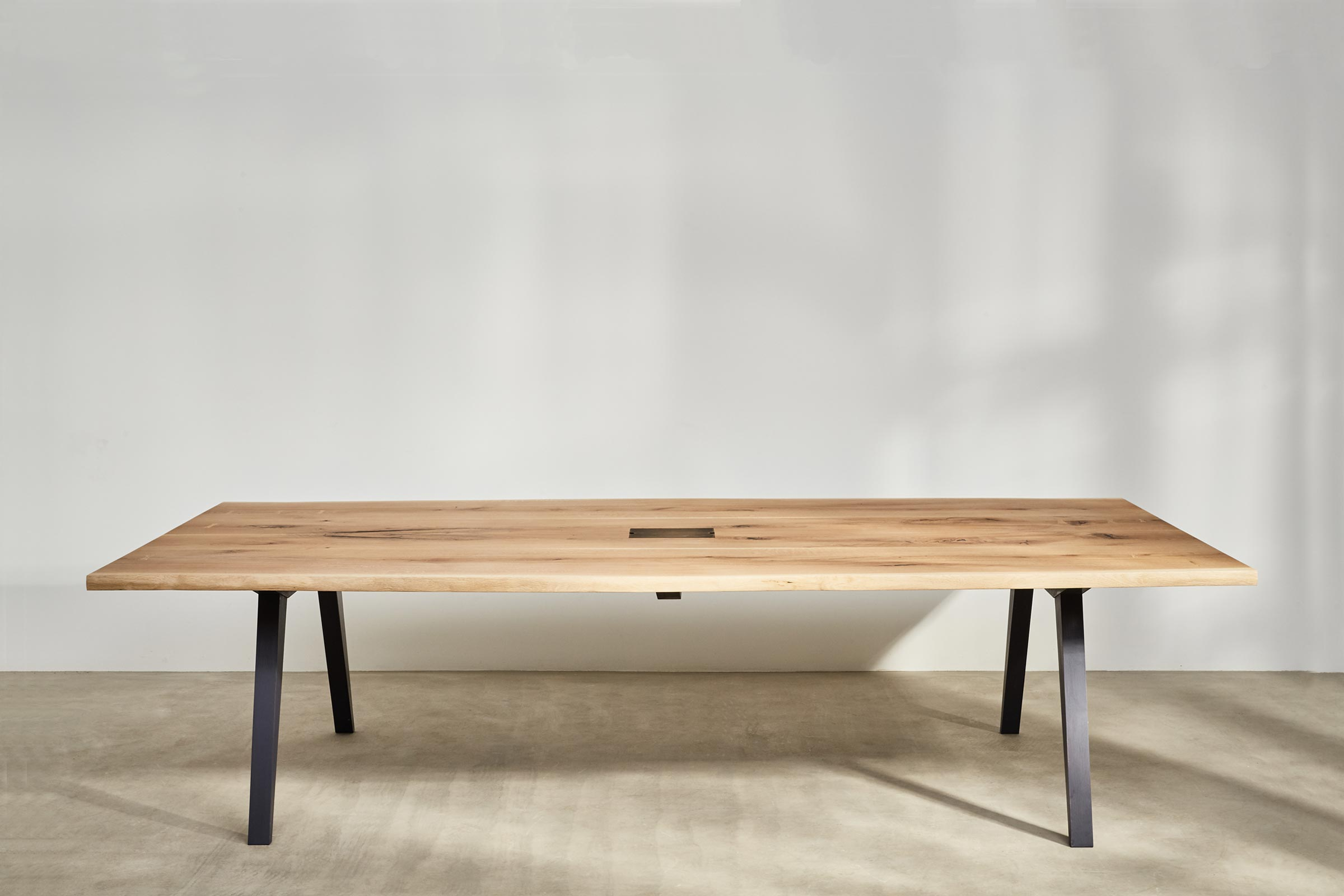 waney edge meeting table made from oak