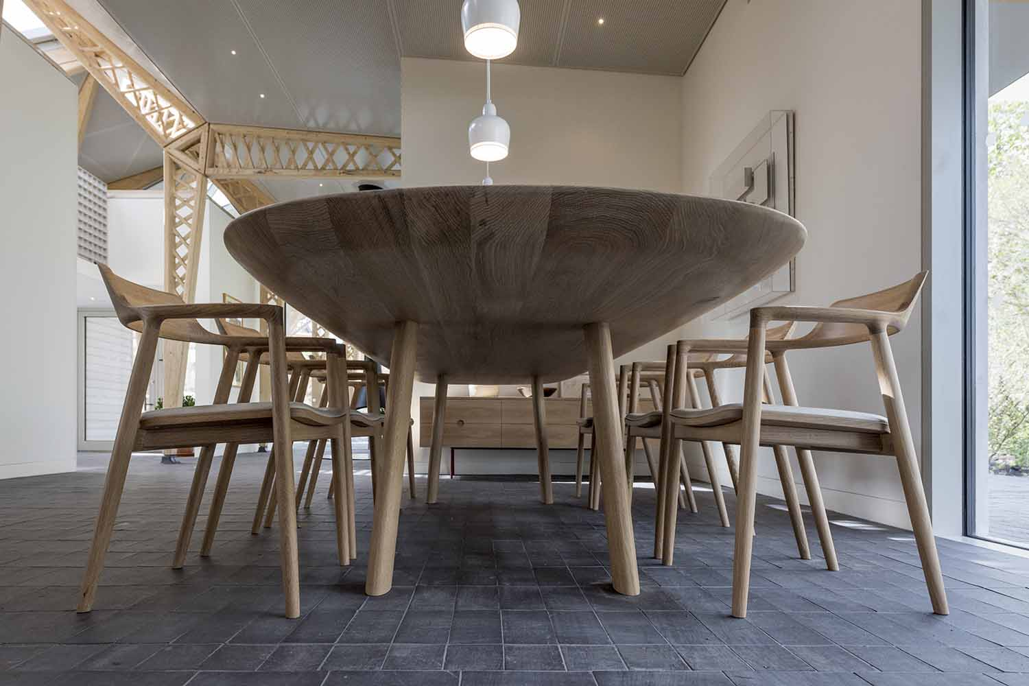 oak kitchen table for Maggie's in Manchester