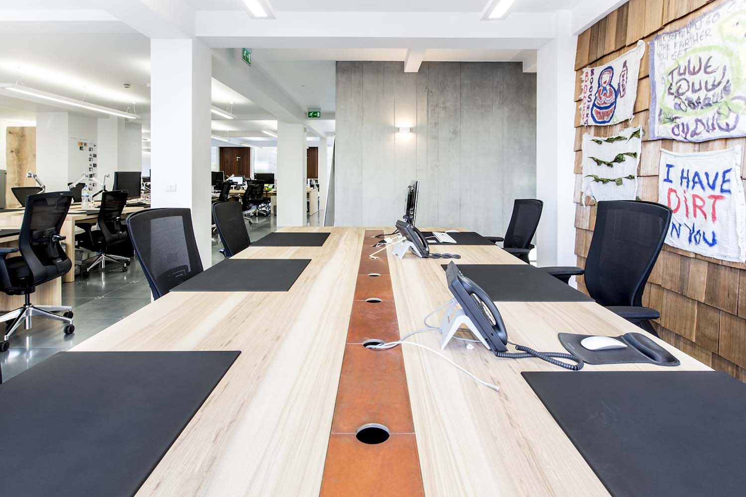 bespoke solid oak and copper sharing workbenches for Visual DNA Offices